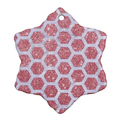 Hexagon2 White Marble & Pink Glitter Snowflake Ornament (two Sides) by trendistuff
