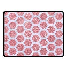 Hexagon2 White Marble & Pink Glitter Double Sided Fleece Blanket (small)  by trendistuff