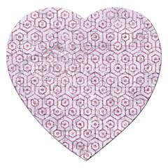 Hexagon1 White Marble & Pink Glitter (r) Jigsaw Puzzle (heart) by trendistuff