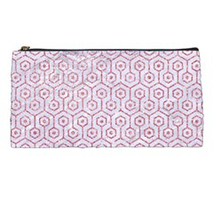 Hexagon1 White Marble & Pink Glitter (r) Pencil Cases by trendistuff