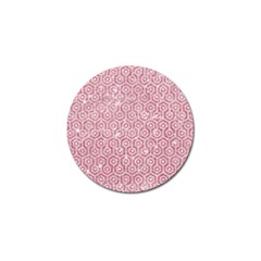 Hexagon1 White Marble & Pink Glitter Golf Ball Marker by trendistuff