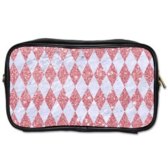 Diamond1 White Marble & Pink Glitter Toiletries Bags 2 Side by trendistuff