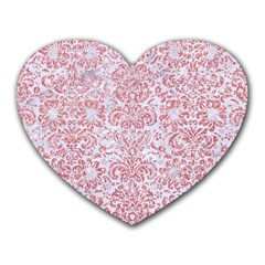 Damask2 White Marble & Pink Glitter (r) Heart Mousepads by trendistuff