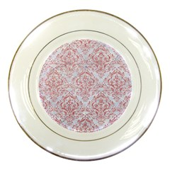 Damask1 White Marble & Pink Glitter (r) Porcelain Plates by trendistuff