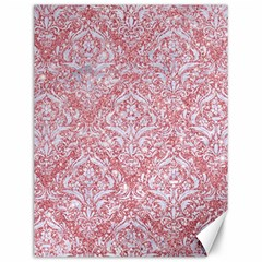 Damask1 White Marble & Pink Glitter Canvas 12  X 16   by trendistuff