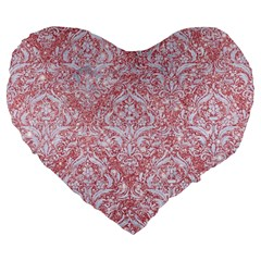 Damask1 White Marble & Pink Glitter Large 19  Premium Flano Heart Shape Cushions by trendistuff