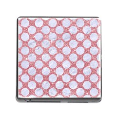 Circles2 White Marble & Pink Glitter Memory Card Reader (square) by trendistuff