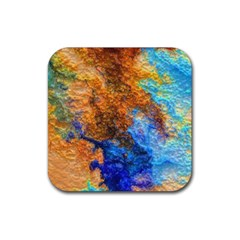 Blue Brown  Texture                                       Rubber Square Coaster (4 Pack by LalyLauraFLM