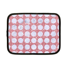 Circles1 White Marble & Pink Glitter Netbook Case (small)  by trendistuff