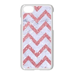 Chevron9 White Marble & Pink Glitter (r) Apple Iphone 7 Seamless Case (white)