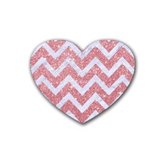 Chevron9 White Marble & Pink Glitter Rubber Coaster (heart)  by trendistuff