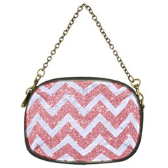 Chevron9 White Marble & Pink Glitter Chain Purses (one Side)  by trendistuff