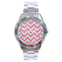 Chevron9 White Marble & Pink Glitter Stainless Steel Analogue Watch by trendistuff