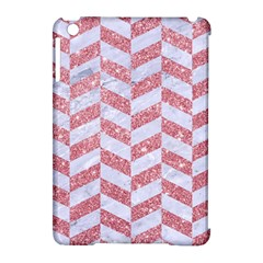 Chevron1 White Marble & Pink Glitter Apple Ipad Mini Hardshell Case (compatible With Smart Cover) by trendistuff