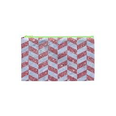 Chevron1 White Marble & Pink Glitter Cosmetic Bag (xs) by trendistuff