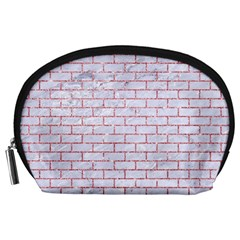Brick1 White Marble & Pink Glitter (r) Accessory Pouches (large)  by trendistuff