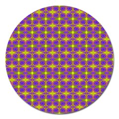 Purple Yellow Swirl Pattern Magnet 5  (round) by BrightVibesDesign