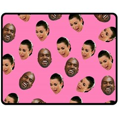 Crying Kim Kardashian Fleece Blanket (medium)  by Valentinaart