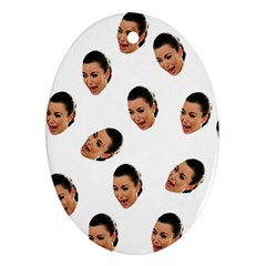 Crying Kim Kardashian Oval Ornament (two Sides)