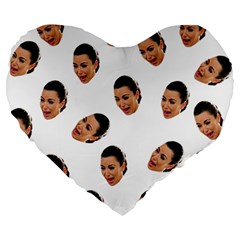 Crying Kim Kardashian Large 19  Premium Heart Shape Cushions
