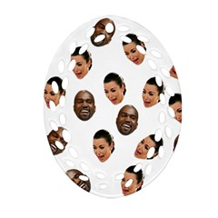 Crying Kim Kardashian Oval Filigree Ornament (two Sides)