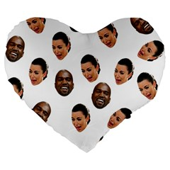 Crying Kim Kardashian Large 19  Premium Flano Heart Shape Cushions