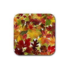 Autumn Fall Leaves Rubber Square Coaster (4 Pack)