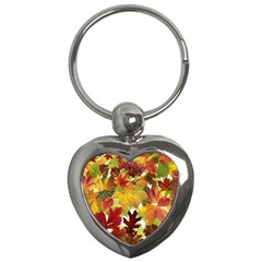 Autumn Fall Leaves Key Chains (heart)  by LoolyElzayat