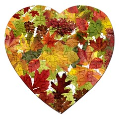 Autumn Fall Leaves Jigsaw Puzzle (heart)