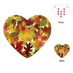 Autumn Fall Leaves Playing Cards (heart)  by LoolyElzayat
