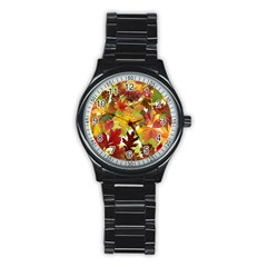 Autumn Fall Leaves Stainless Steel Round Watch
