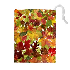 Autumn Fall Leaves Drawstring Pouches (extra Large)