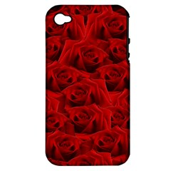 Romantic Red Rose Apple Iphone 4/4s Hardshell Case (pc+silicone)