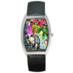 Lilac And Lillies 2 Barrel Style Metal Watch