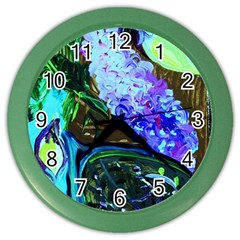 Lilac And Lillies 1 Color Wall Clocks