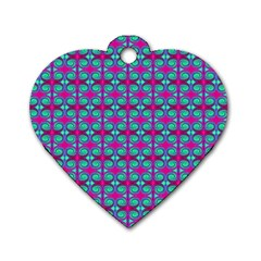 Pink Green Turquoise Swirl Pattern Dog Tag Heart (two Sides)