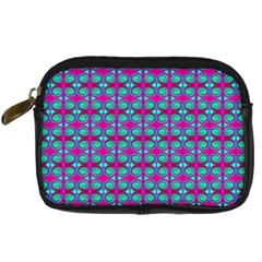 Pink Green Turquoise Swirl Pattern Digital Camera Cases