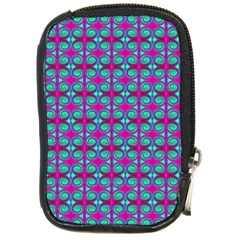 Pink Green Turquoise Swirl Pattern Compact Camera Cases