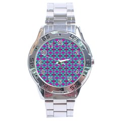 Pink Green Turquoise Swirl Pattern Stainless Steel Analogue Watch