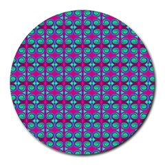 Pink Green Turquoise Swirl Pattern Round Mousepads