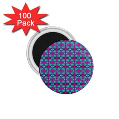 Pink Green Turquoise Swirl Pattern 1 75  Magnets (100 Pack)