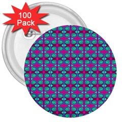 Pink Green Turquoise Swirl Pattern 3  Buttons (100 Pack)