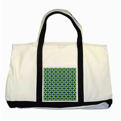 Blue Yellow Green Swirl Pattern Two Tone Tote Bag by BrightVibesDesign