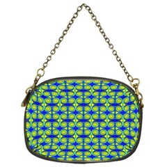 Blue Yellow Green Swirl Pattern Chain Purses (one Side)