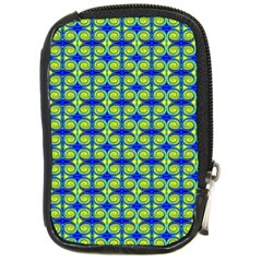 Blue Yellow Green Swirl Pattern Compact Camera Cases by BrightVibesDesign