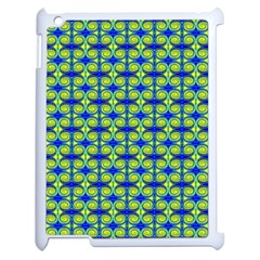Blue Yellow Green Swirl Pattern Apple Ipad 2 Case (white) by BrightVibesDesign