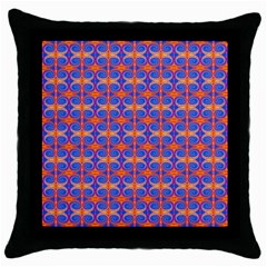 Blue Orange Yellow Swirl Pattern Throw Pillow Case (black)