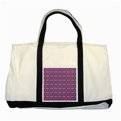 Blue Orange Yellow Swirl Pattern Two Tone Tote Bag by BrightVibesDesign