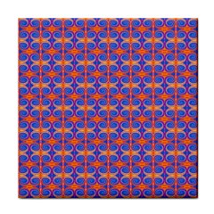 Blue Orange Yellow Swirl Pattern Face Towel by BrightVibesDesign