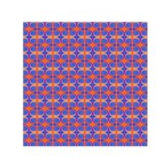 Blue Orange Yellow Swirl Pattern Small Satin Scarf (square)  by BrightVibesDesign